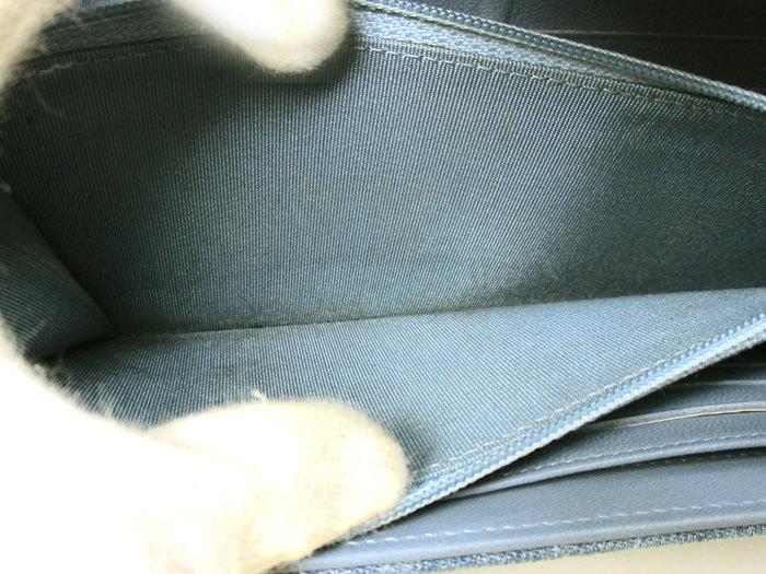【中古】シャネル 二つ折り長財布 マトラッセ デニム ライトブルー A80829_画像5