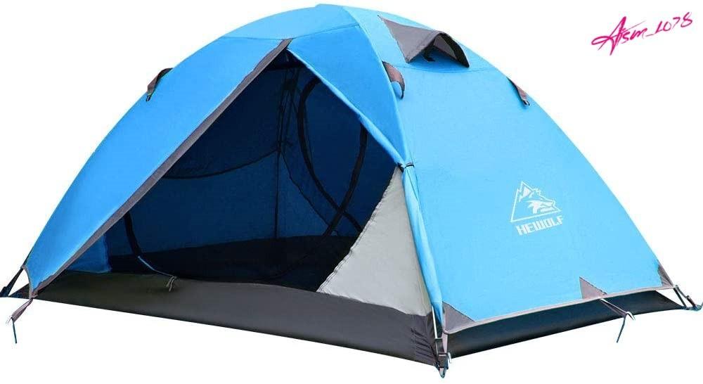 【初心者おすすめ】ソロ ツーリング テント 青 キャンプ 登山 アウトドア 自立式 二重層 設営簡単 防風 防水 防災 軽量 4シーズン HEWOLF