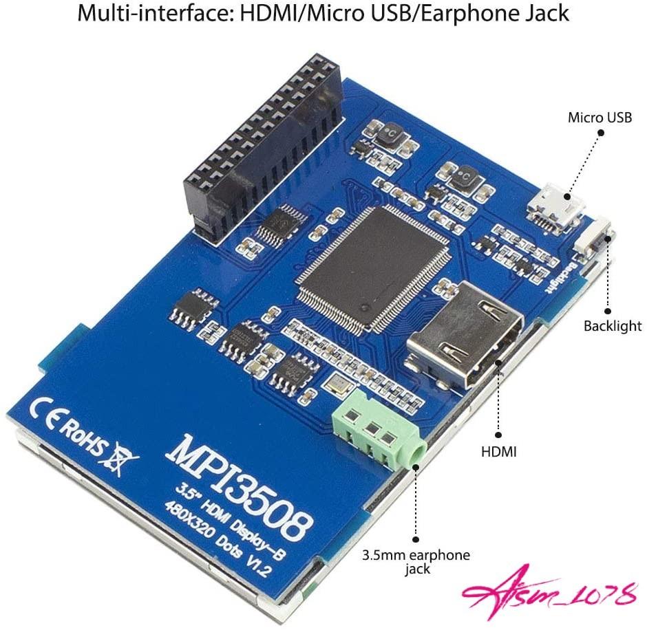 ELECROW 3.5インチ モバイルモニター タッチパネル HDMI LCD ディスプレイ ポータブル 小型液晶 ゲーム【Raspberry Pi 4B/3B+/3B対応】_画像6