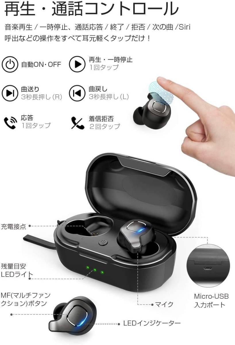 【送料無料】Bluetooth ワイヤレスイヤホン F8 両耳 ストラップ付き 超軽量 ステレオ高音質 マイク内蔵 充電式収納ケース付き
