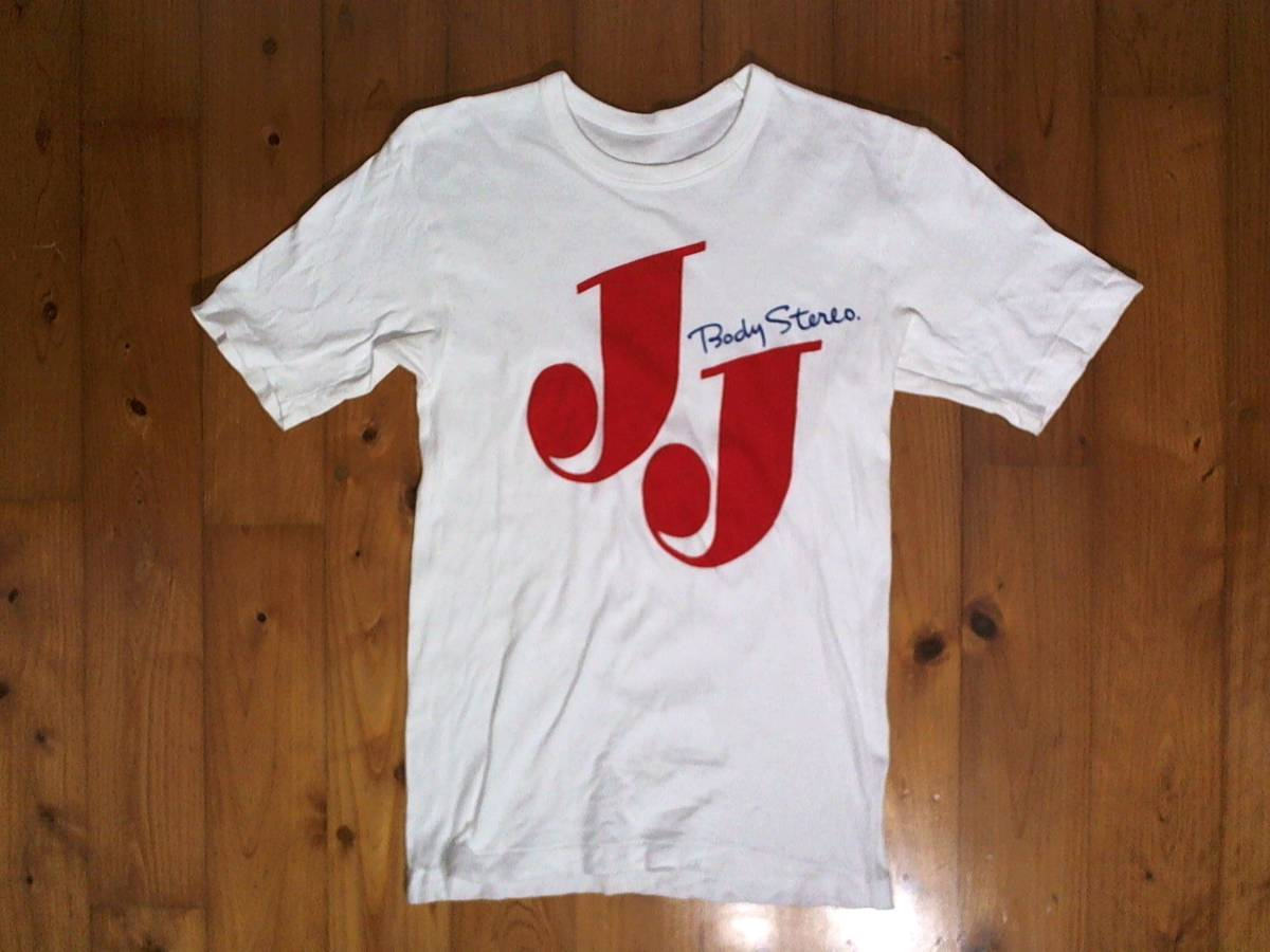 ★レア品☆詳細不明★MR JJ Body stereo★ロゴプリント 半袖Tシャツ コットンTシャツ XS位 ホワイト サンヨー