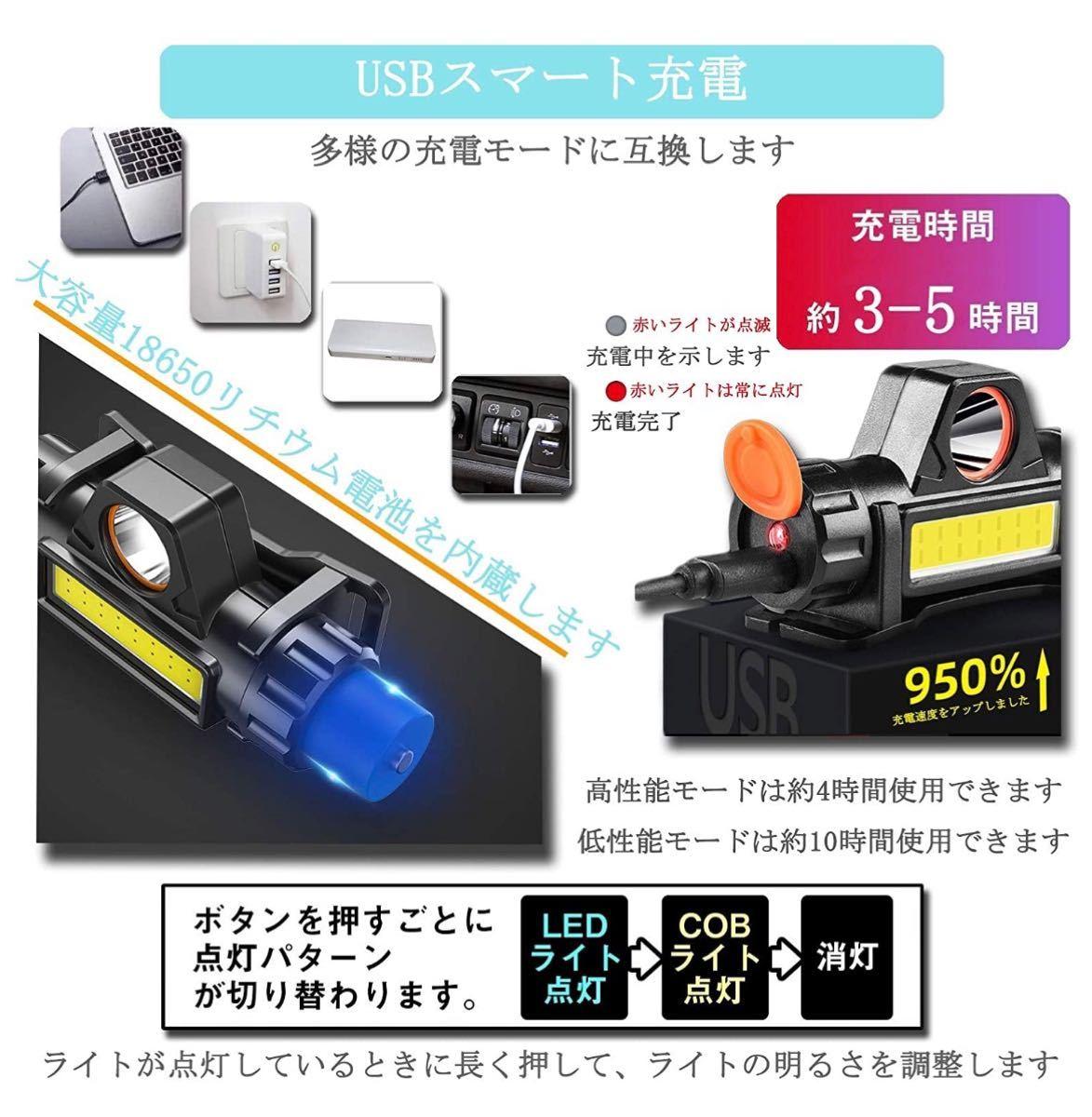 ヘッドライト 充電式 ledヘッドライト アウトドア用ヘッドライト 高輝度 超軽量 角度調整可 2個セット
