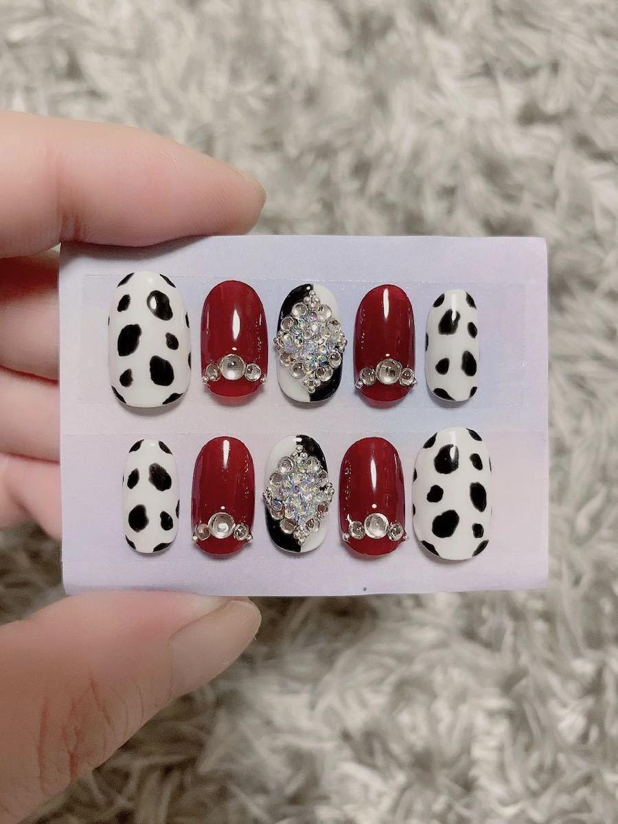 黒×白×赤ダルメシアンキラキラ ダイヤ ネイルチップ