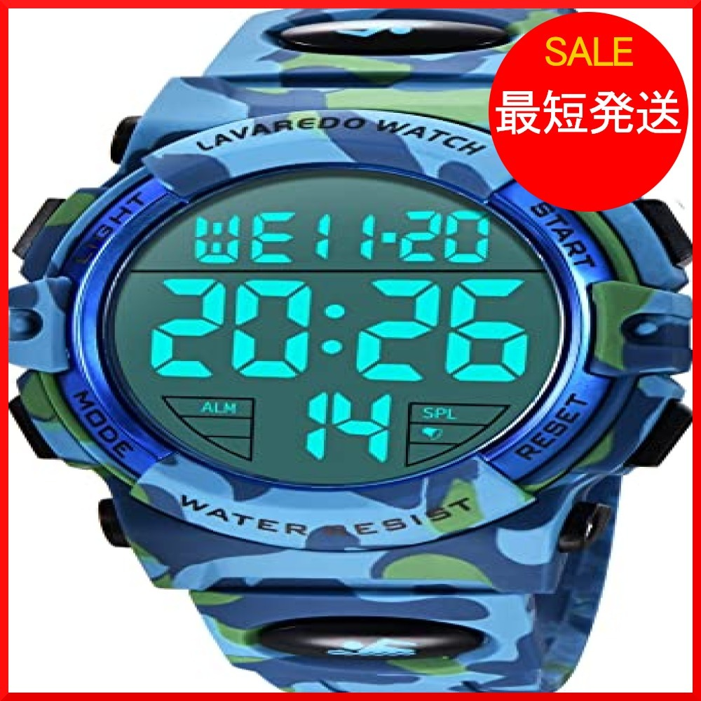 8-ライト ブルー 腕時計 メンズ デジタル スポーツ 50メートル防水 おしゃれ 多機能 LED表示 アウトドア 腕時計(ブル_画像1