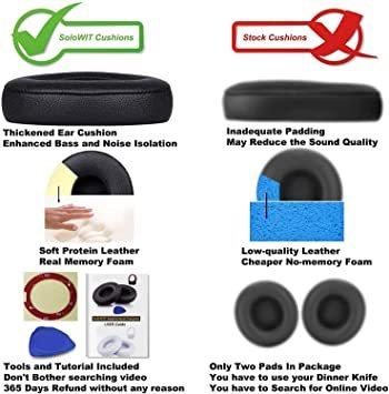 黒 SoloWIT イヤーパッド イヤークッション 交換用 Solo 2.0&3 Wirelessに対応 革 ヘッドフォンに適用_画像5
