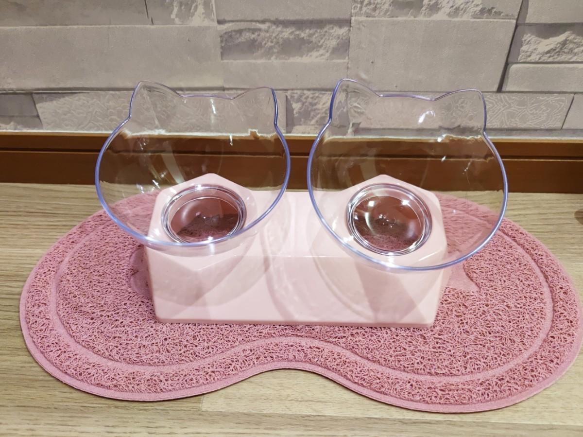 猫用トイレマット 猫砂マット PVC ネコ 爪とぎ具 ランチョマット ピーナッツ ピンク 食べこぼし お食事マット