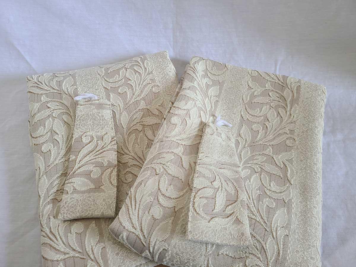 未使用 アウトレット 厚地カーテン ドーマ 100×105cm 2枚入 洗濯可能 フック付 カラーBE  植物柄_画像3