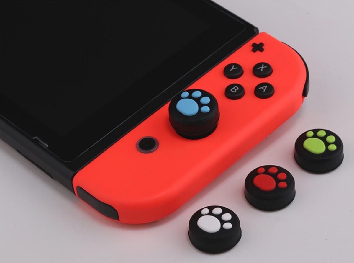Switch スイッチ ジョイコン スティックカバー ピンク 黒 2個 肉球