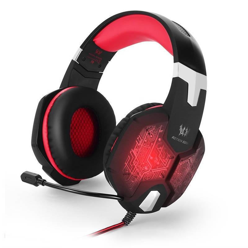 高品質 ゲーミングステレオヘッドホン ゲーム ヘッドセット 高音質 マイク付 LEDライト コントローラー 快適装着 レッド/赤  xq0266_画像1