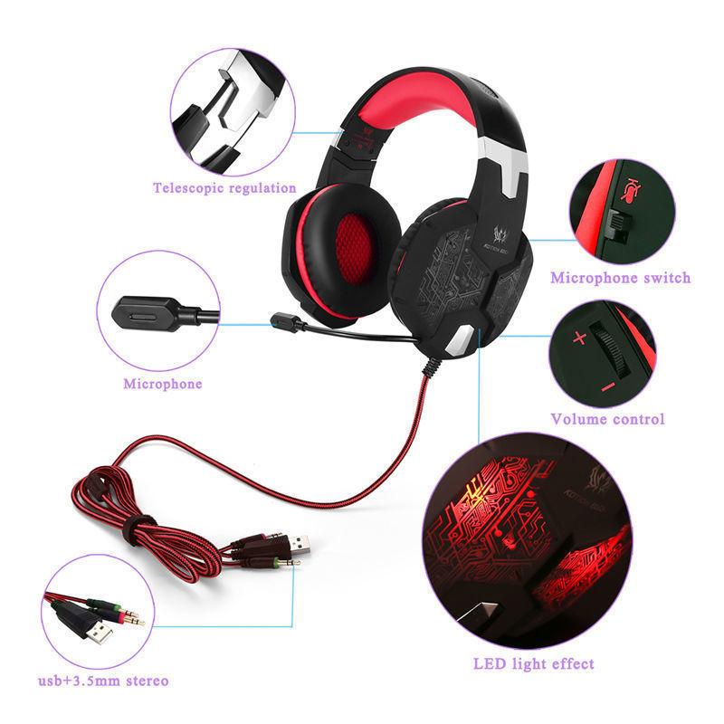 高品質 ゲーミングステレオヘッドホン ゲーム ヘッドセット 高音質 マイク付 LEDライト コントローラー 快適装着 レッド/赤  xq0266_画像3
