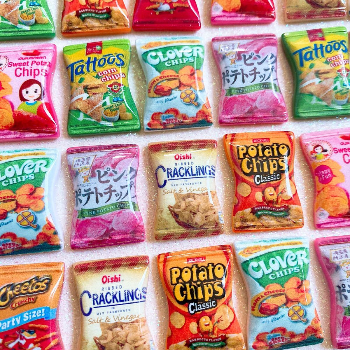 デコパーツ チップス パッケージ 24個セット まとめ売り お菓子パーツ