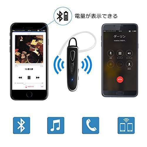 新品Bluetooth ワイヤレス ヘッドセット V4.1 片耳 高音質 超大容量バッテリー 36時間通話可能(ブラU0GB_画像2