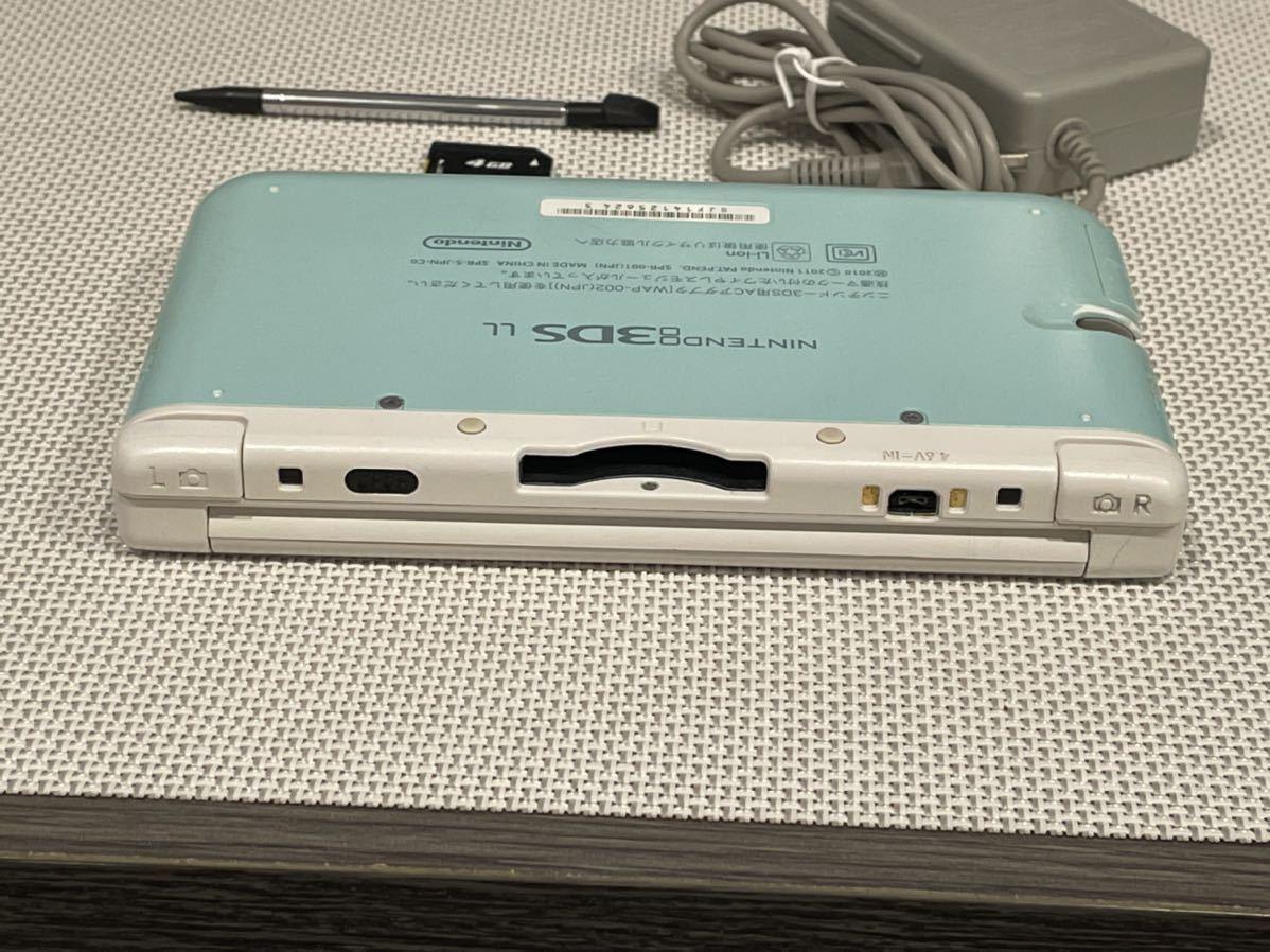 美品ニンテンドー3DS LL ミントホワイト 本体動作品 送料無料 Nintendo 任天堂 付属品付き