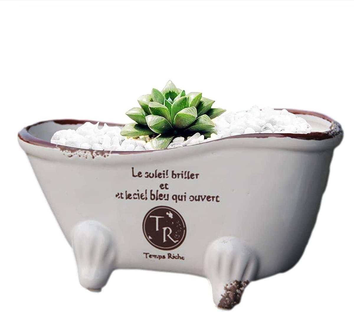 猫足 植木鉢 陶器 バスタブ フラワーポット 多肉植物 サボテン プランター アンティーク調 ガーデニング_画像5
