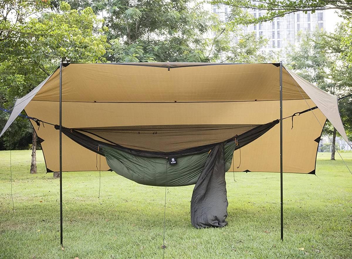 OneTigris 2.8×4.0m ヘキサ タープ ソロ キャンプ テント ツーリング アウトドア 日除け レジャー シート 海水浴