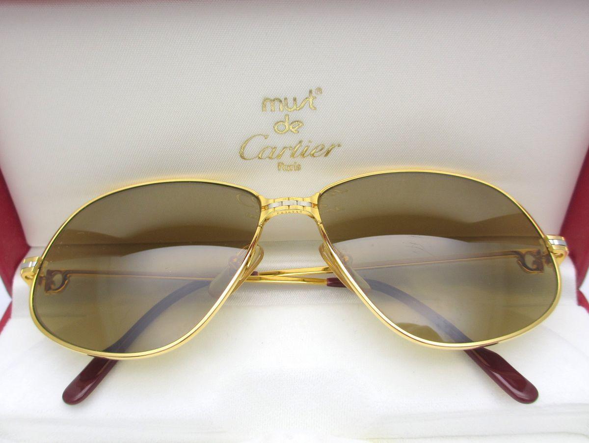 1000円スタート サングラス Cartier カルティエ コンビカラー マイヨンパンテール風デザ