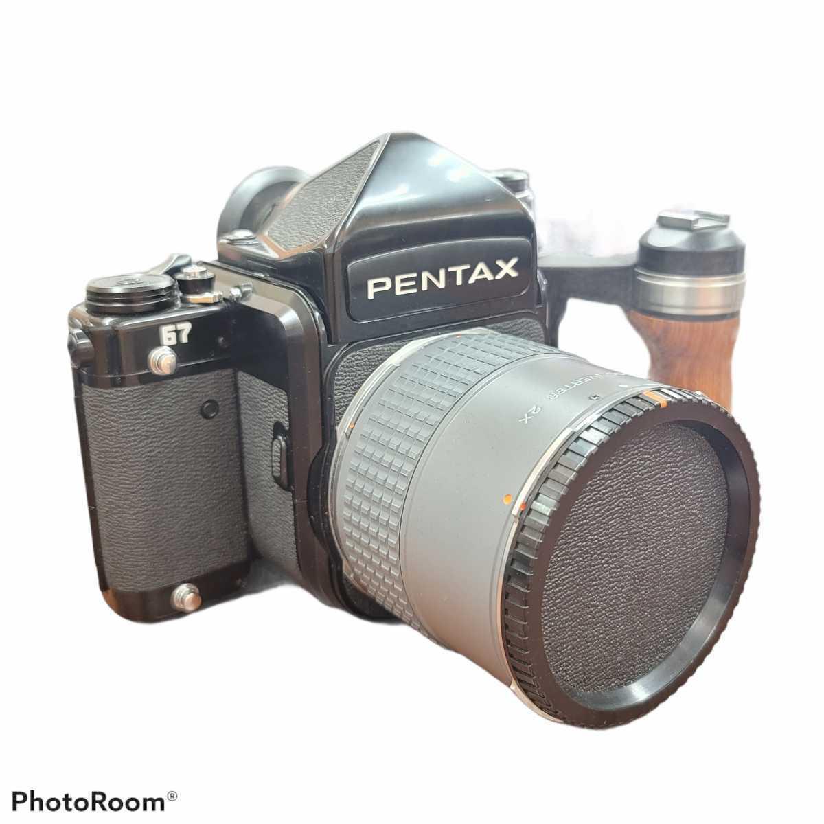 ●【コレクター必見】PENTAX ペンタックス●67 ロクナナ●バケペン●一眼レフカメラ●中判カメラ●リアコンバーター付●木製グリップ●EB0