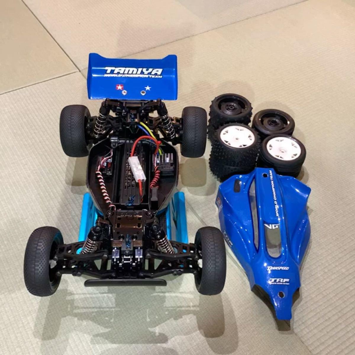 【土日限定値下】TAMIYA DT-02オフロードバギー メカ、プロポ、オプション多数、タイヤ数種、説明書付き、希少ボディセット