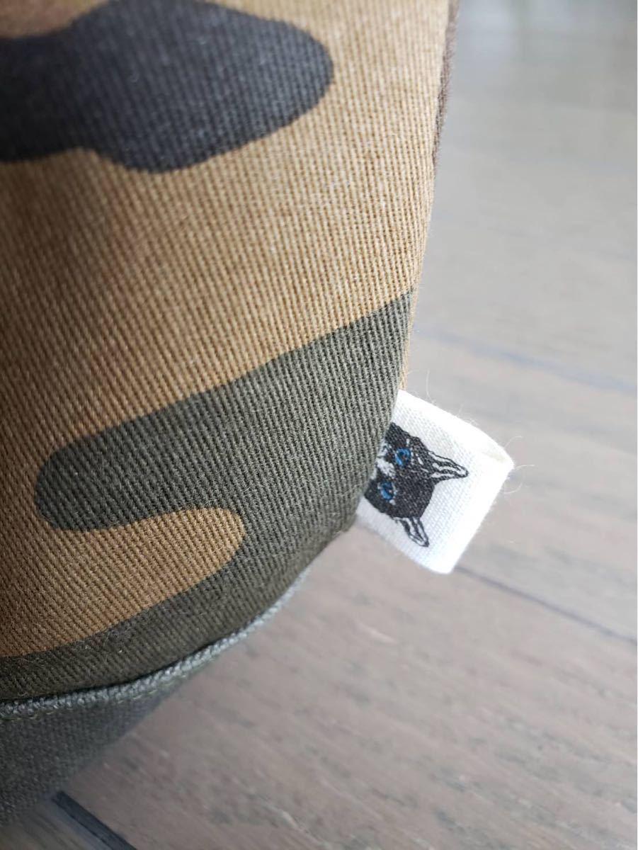 カーキ帆布◆迷彩柄◆切り替えトートバッグ◆ハンドメイド◆