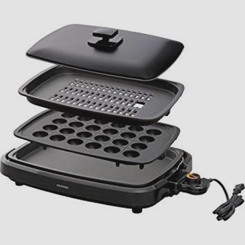 新品アイリスオーヤマ ホットプレート たこ焼き 焼肉 平面 プレート 3枚 蓋付き ブラック APA-137-BZIBR_画像1