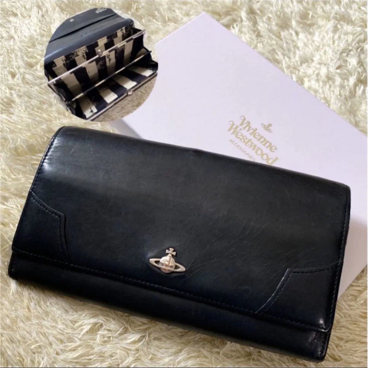 Vivienne Westwood ヴィヴィアンウエストウッド 二つ折り 長財布 がま口 オーブ レザー  ブラック 黒