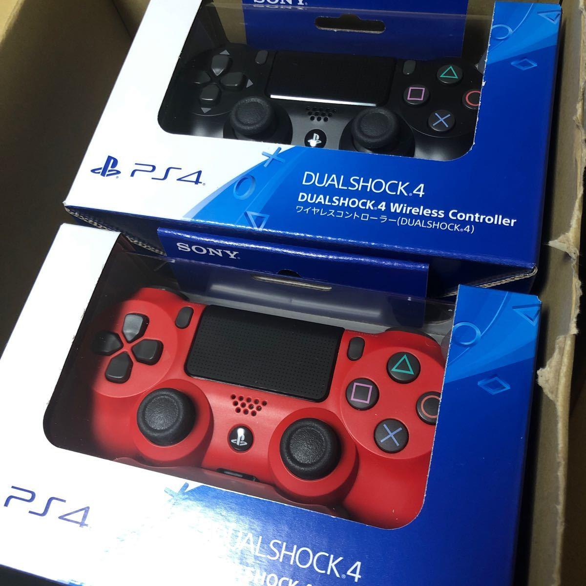 PS4 ワイヤレスコントローラー(DUALSHOCK4) マグマ・レッド  ブラック CUH-ZCT2J11 純正 2個セット