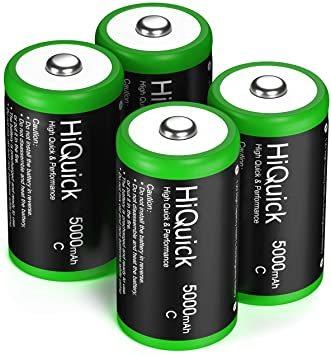 単二 HiQuick 単2形充電池 充電式ニッケル水素電池 高容量5000mAh 単2電池 4本入り ケース2個付き 約1200_画像7