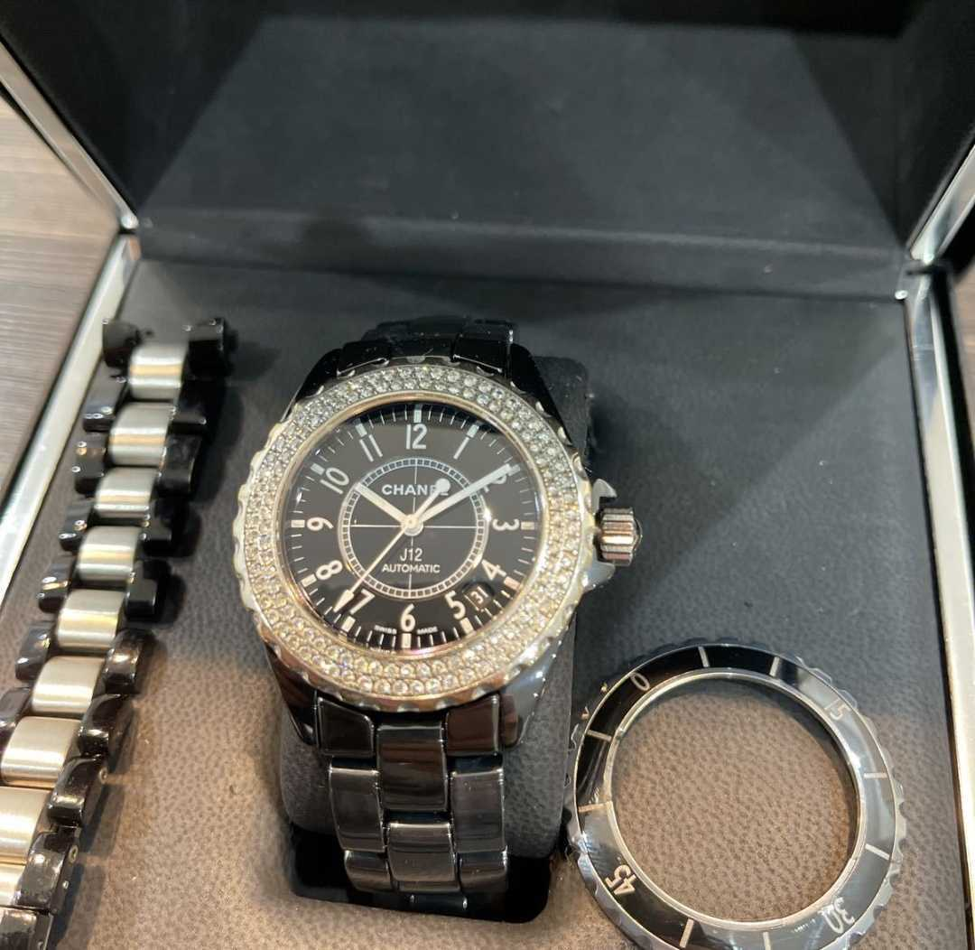 【極美品】【1円スタート】 CHANEL 腕時計 J12 38mm ダイヤベゼル メンズ j12 シャネル カスタムモデル アフターダイヤ ダイヤ 自動巻
