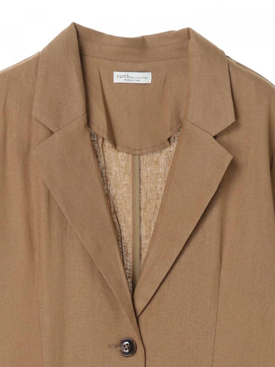 お値下げ! リアルクローズ テーラードジャケット シャツジャケット キャメル 透け感 半袖 大人高見え 抜け感