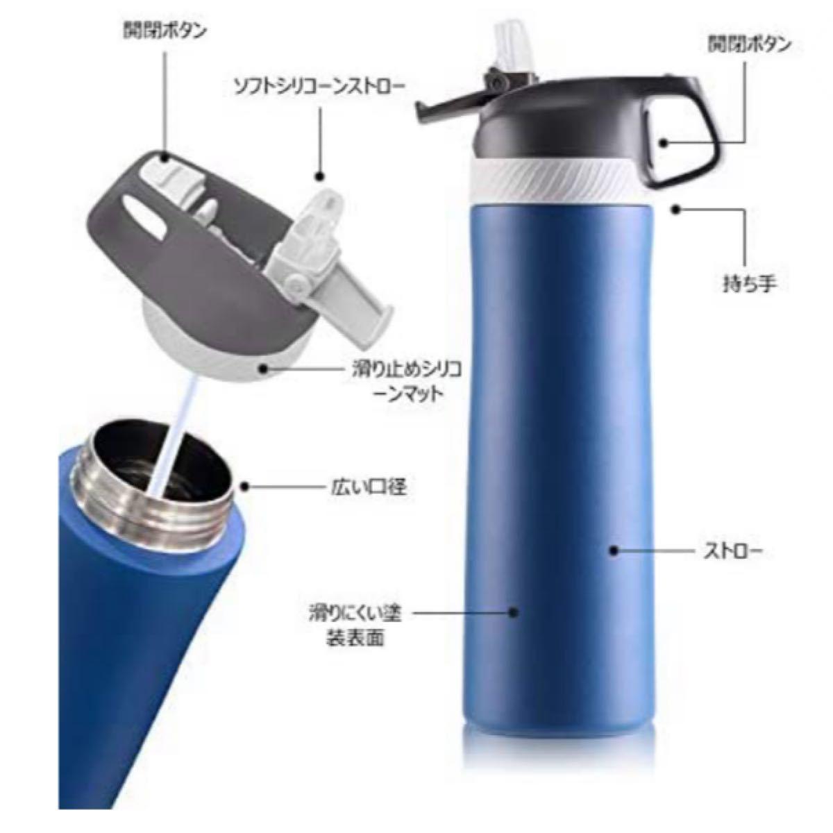 水筒 真空断熱 ワンタッチ ストロー スポーツ ボトル直飲み 保温  ステンレスボトル