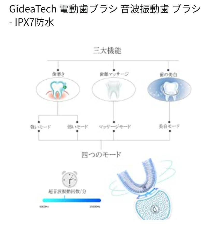電動歯ブラシ 音波振動歯 ブラシ IPX7防水 四代目