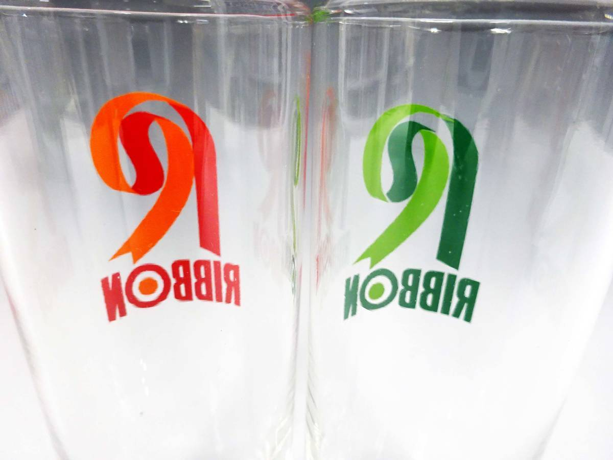 ◆⑤昭和レトロ リボンシトロン ナポリン ゾンビーグラス 未使用 デッドストック 当時物 サッポロビール 非売品 企業物 グリーン 食器 雑貨_画像6