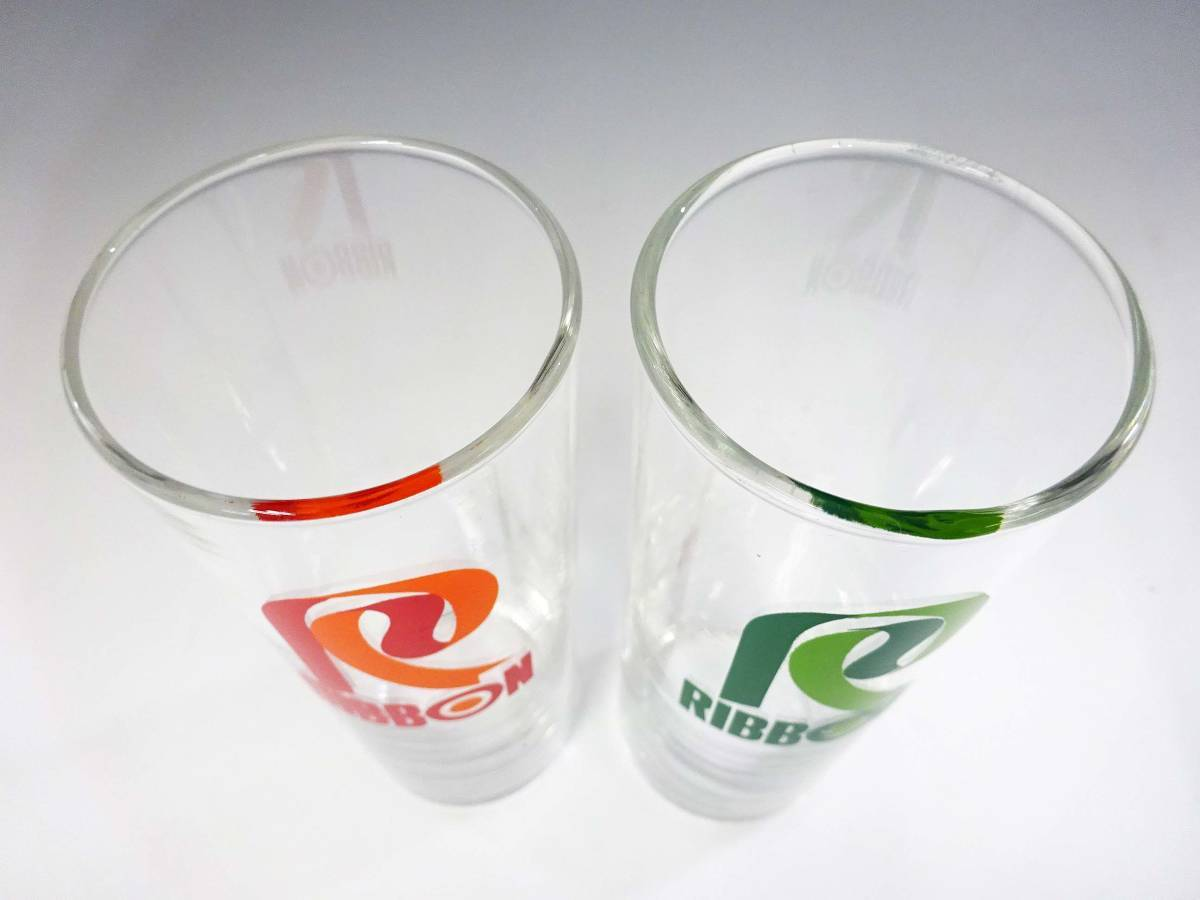 ◆⑤昭和レトロ リボンシトロン ナポリン ゾンビーグラス 未使用 デッドストック 当時物 サッポロビール 非売品 企業物 グリーン 食器 雑貨_画像4