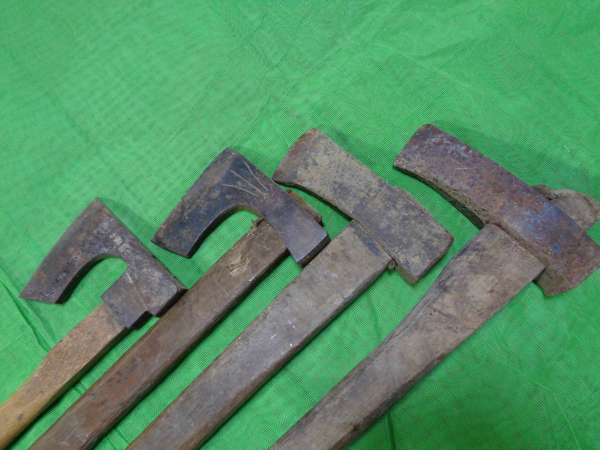 ☆★jg■古い斧 4点まとめてセット 総重量18キロ位 山師 鉞 薪割 大工道具 マサカリ 林業 鍛冶 山林 オノ アウトドア 古道具