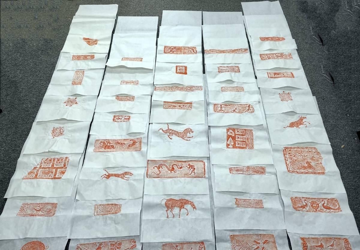 中国漢晉飛鳥禽磚瓦 紅拓40件 検和本唐本漢籍書道書画碑帖拓本法帖金石美術中国 5-F-16