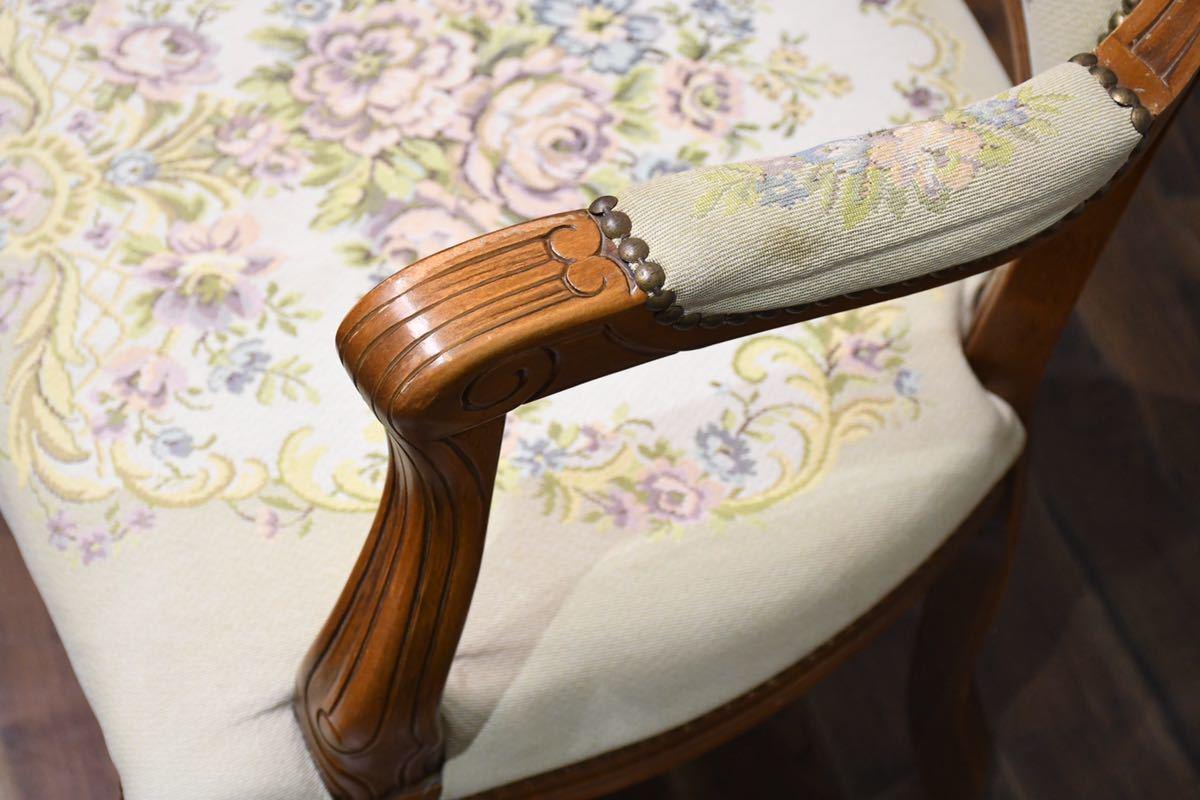 AEC14 クラシック 猫脚 彫刻 鋲打ち ゴブラン サロンチェア アームチェア ロココ調 肘掛け椅子 検)ダイニングチェア アンティーク 輸入家具_画像9