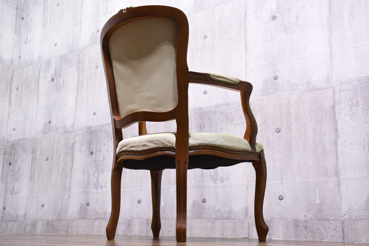 AEC14 クラシック 猫脚 彫刻 鋲打ち ゴブラン サロンチェア アームチェア ロココ調 肘掛け椅子 検)ダイニングチェア アンティーク 輸入家具_画像10