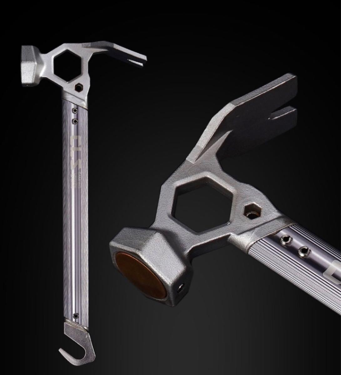 ペグハンマー アルミハンド 軽量 ステンレス テントハンマー アウトドア用 多機能 ペグ打ち ペグ抜き 真鍮ヘッドハンマー