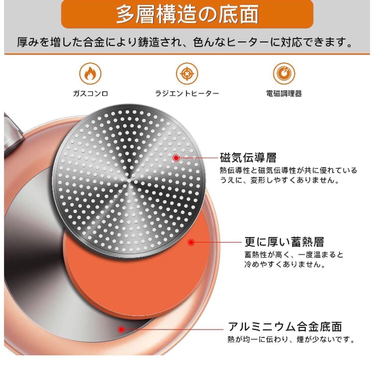 フライパンセット ダイヤモンドコート鍋 ガス火/IH対応 取っ手のとれる ガラス蓋付き 5点 セット