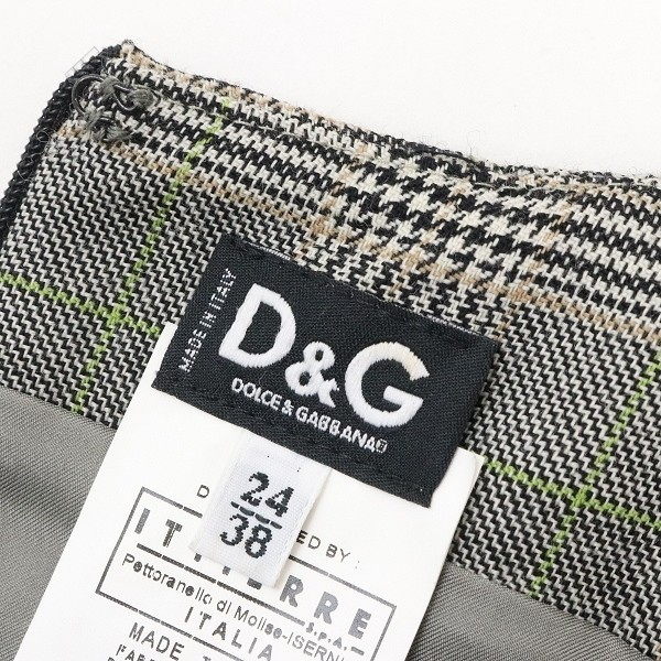 ◆D&G/ドルチェ&ガッバーナ グレンチェック柄 フリル タイト ワンピース グレー 24/38_画像6