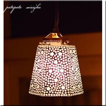 モザイク ハンギングランプ 六角 スター ホワイト ランプ ペンダントライト ペンダントランプ ステンドグラス_画像1