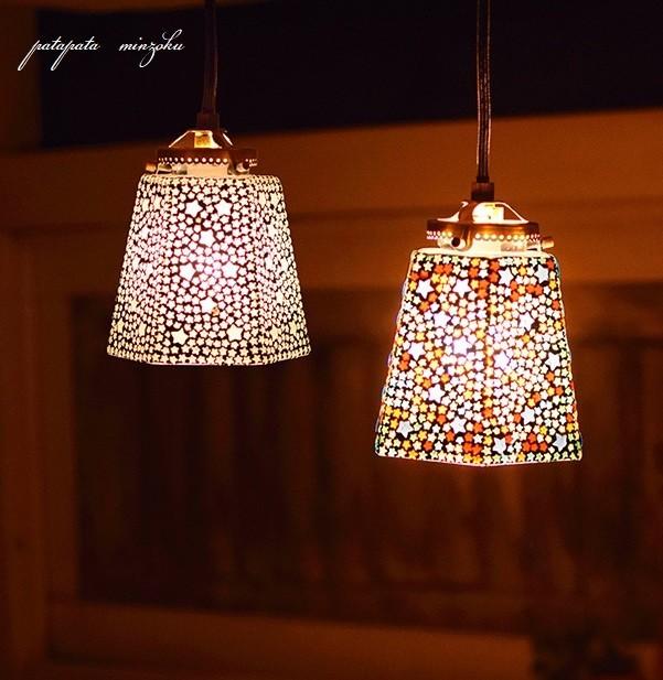 モザイク ハンギングランプ 六角 スター ホワイト ランプ ペンダントライト ペンダントランプ ステンドグラス_画像4