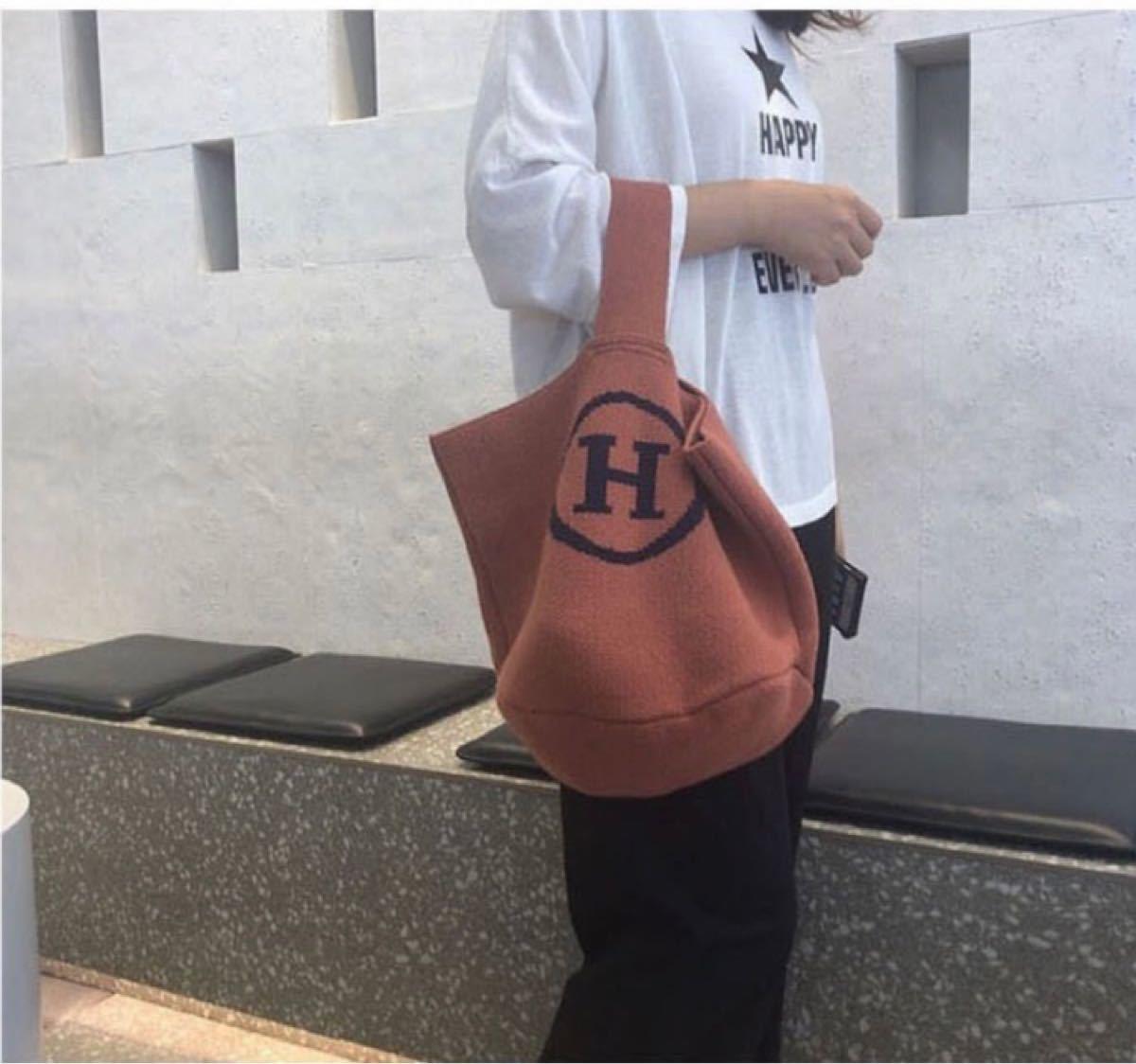 トートバッグ 大人気ニットバッグ エコバッグ、ショルダーバッグ ハンドバッグ 2wayバッグ 折りたたみバッグ