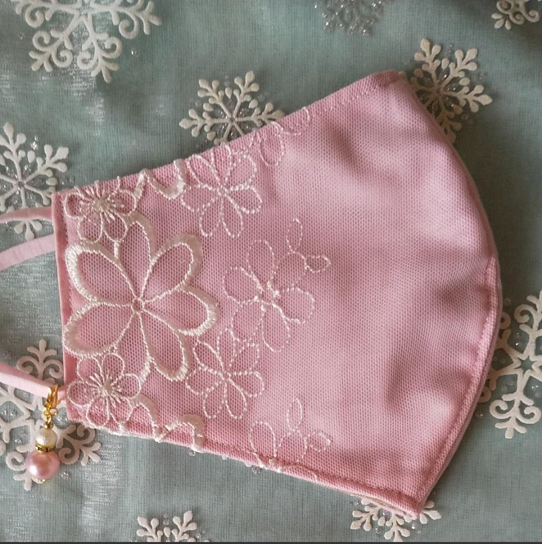立体インナーハンドメイド、綿ガーゼ、チュール刺繍レース(ピンク×薄いピンクレース)(普通サイズ)アジャスター付、チャーム付