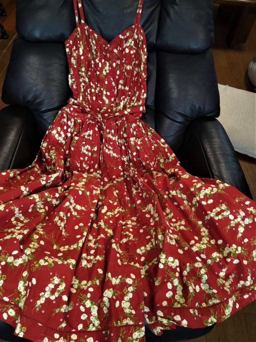 PINKHOUSE ピンクハウス スカート 赤 花柄 古着 送料込み ウエスト部分補正あり 身長の低い方に