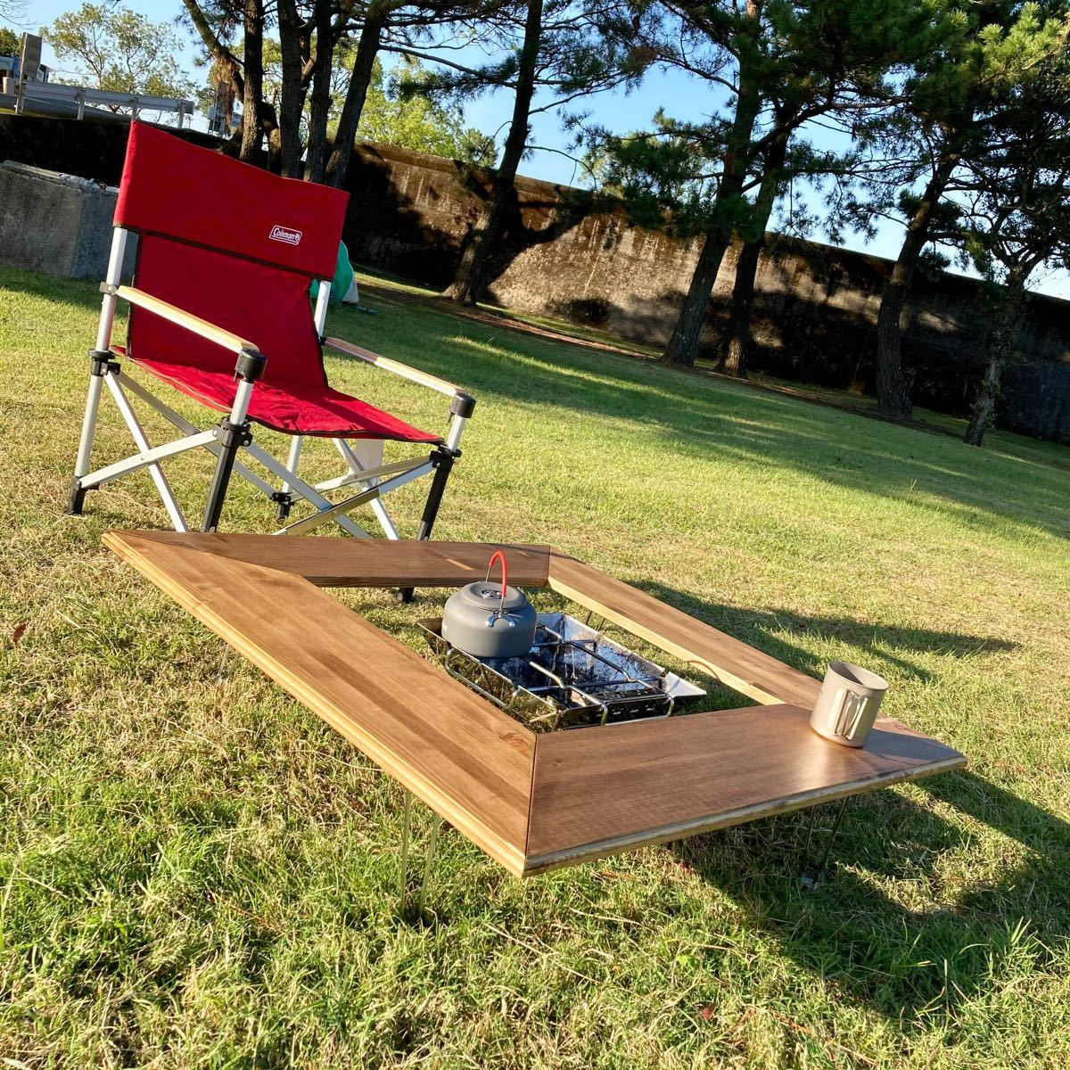 アウトドア用 キャンプテーブル 囲炉裏テーブル 焚き火台テーブル 防炎施工有り レジャーテーブル アウトドア キャンプ 多機能