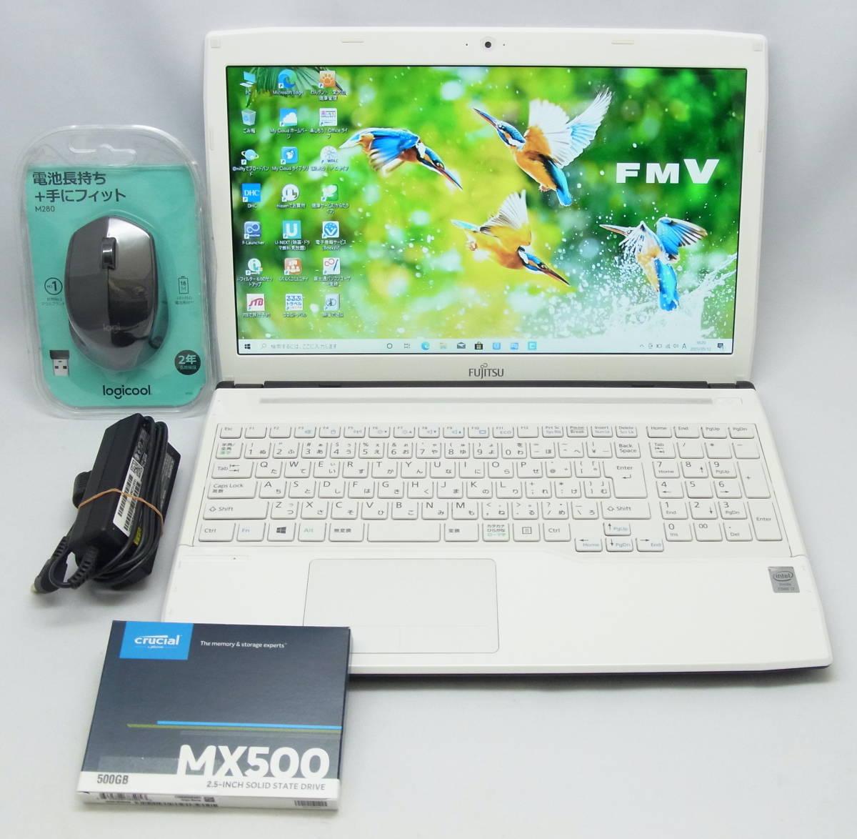 富士通 LIFEBOOK AH56/M・第4世代・i7-4702MQ・15.6型 ・高速新品SSD 500GB・メモリ 8GB・ブルーレイドライブ・Windows 10・Office 2019