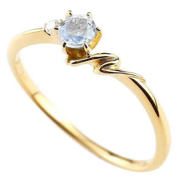 指輪 イニシャル ネーム N ピンキーリング ブルームーンストーン ダイヤモンド リング イエローゴールドk18 アルファベット 18金 6月誕生石_画像1