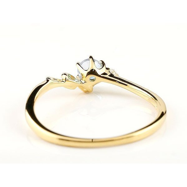 指輪 イニシャル ネーム N ピンキーリング ブルームーンストーン ダイヤモンド リング イエローゴールドk18 アルファベット 18金 6月誕生石_画像3