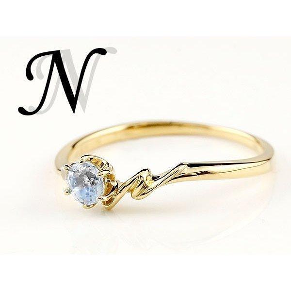 指輪 イニシャル ネーム N ピンキーリング ブルームーンストーン ダイヤモンド リング イエローゴールドk18 アルファベット 18金 6月誕生石_画像4
